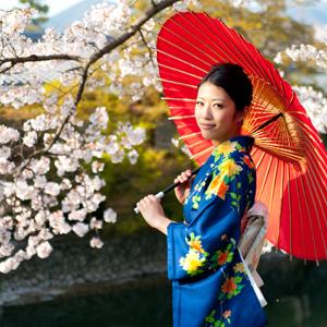 japanese kimono woman and traditional red umbrella