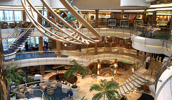 The atrium of the Rhapsody of the Seas cruise ship.